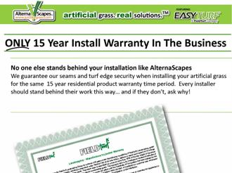 15 year Alternascapes Artificial Grass Residential Warranty