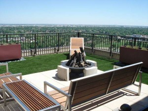 FieldTurf Artificial Grass Rooftop seating area is relaxing, comfortable and with no maintenance