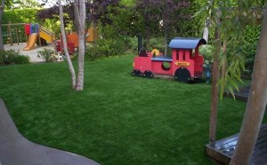 Artificial Turf by FieldTurf on a Playground that Replaced Rubber Mulch