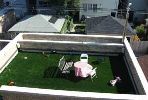 Artificial Turf from FieldTurf on Rooftop. Green rooftops are durable and aesthetically more appealing.