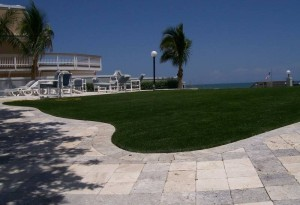 Waterfront Commercial Common Area with FieldTurf Artificial Grass Event Lawn. Great for Hotels and Condominiums.