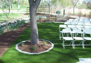 Event area lawn with FieldTurf artificial grass at commercial location