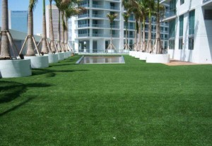 Green Roof event lawn area on rooftop with FieldTurf artificial lawn