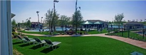 Community Common Pool Area with FieldTurf Artificial Grass. Feels real, looks real and lasts for 15-20 years. Nice.