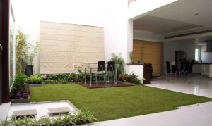 Condominium Courtyard area with FieldTurf Artificial Grass. Great for townhouse and high rise areas too. Green and Clean.