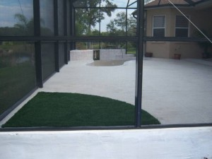 FieldTurf Artificial Grass landscaping in screened enclosure