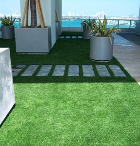 FieldTurf Artificial Grass on Roof with walkways provides a gorgeous 5 star appearance.