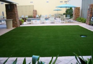 FieldTurf Synthetic Grass next to Commercial Pool Area