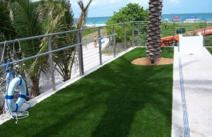FieldTurf Synthetic Grass near 2nd Floor Pool Deck adds beauty and requires virtually no maintenance.