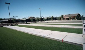 FieldTurf artificial grass Bocce Ball Courts. The answer to low maintenance year round play. Looks real. Feels real.