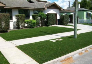 FieldTurf synthetic lawn in residential front yard. Beautiful curb appeal 365 days per year for 15-20 years. No Mow Maintenance.
