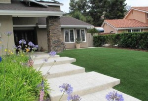 FieldTurf synthetic lawn on front yard of home. Maximize your curb appeal and minimize your maintenance and costs for 15-20 years.