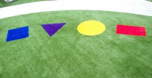 Simple shapes and designs are fun for day care facility and school playgrounds.