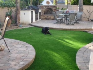 Happy dog on FieldTurf grass at residential home. With our synthetic lawn you and your pet will have 15-20 years of clean, green bliss. No mow maintenance.
