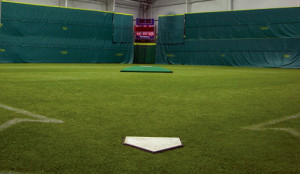 Indoor Baseball Field with FieldTurf artificial grass. Outdoor locations too including fields, halo areas, dugouts, and batting cages.
