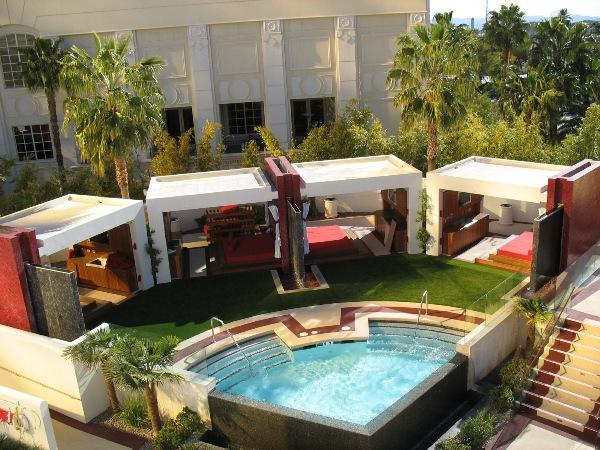 Mandalay Bay Pool with FieldTurf Artificial Grass as deck in cabana area
