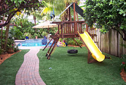 Siesta Key, Florida Playgrounds require the best artificial turf. EasyTurf artificial grass and safety surfacing for your commercial or residential playground is the ideal choice. Call Ken.