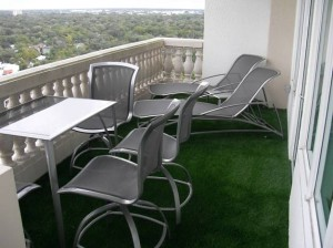 Residential Condo terrace with artificial FieldTurf grass. Permanently installed with no fading and 15-20 year lifespan.