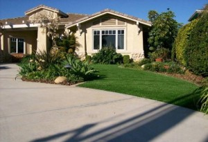 Synthetic FieldTurf grass on residential front yard. Maximize your curb appeal and minimize your maintenance.
