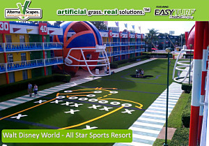 Commercial Artificial Grass projects for hotels and resorts include Walt Disney World All Star Sports Resort in Orlando FLorida