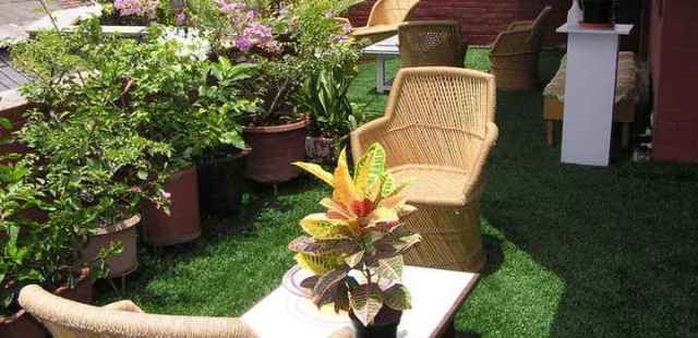 Residential Balcony, Terrace, Lanai, or Rooftop with Artificial Grass.