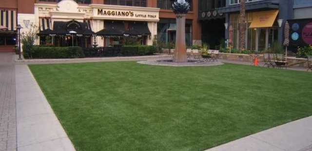 Retail Storefront Shopping Plaza with EasyTurf Synthetic Turf Lawn